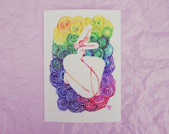 Rainbow dreamer 3 figure lady A5 GICLEE archival Print