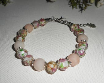 Pink floral Murano Beads Bracelet with tourmaline stones
