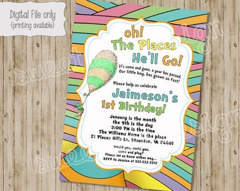 Oh the Places You Will Go Invitation, Oh the Places You Will Go Birthday Invitation, Baby Shower Invitation, Dr Seuss, Birthday Invitation