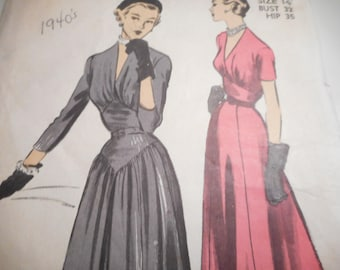 Vintage 1950's Advance 5340 Dress with Panels Sewing Pattern Size 14 Bust 32
