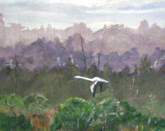 Original wildlife, acrylic painting, Greater South American Flamingos, art on paneling