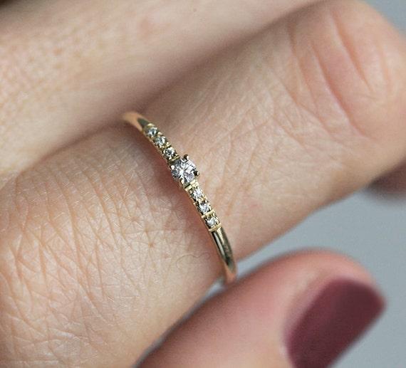 Tiny diamond Ring Mini Diamond Ring Delicate Diamond Ring