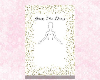 Guess the dress, 5x7 and 8,5x11, Gold guess the dress, confetti guess the dress, gold shower games, gold bridal shower, confetti shower game