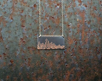 Seattle Washington skyline necklace | Seattle skyline pendant | etched copper pendant | handmade gift | jewelry for her