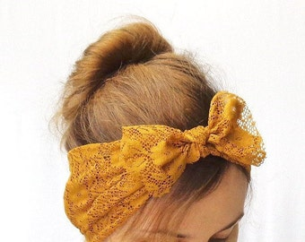 mustard dolly bow headband top knot headband knotted head band elastic bandana summer hair wrap
