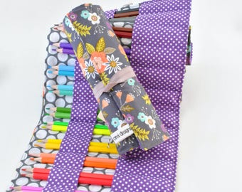 Colored Pencil Roll Up-Coloring Caddie-Adult Coloring-Teen Gift-Purple-Floral-Drawing Caddie-Organizer-24 Colored Pencils-Pen Case-Teen Girl