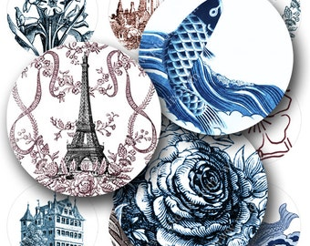 Vintage Toile digital collage sheet in 1 inch circles Koi Eiffel Towers Flowers Japanese Waves Roses Blue and Red -- piddix 852