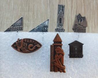 Tartu, Parnu, Pirita, Badges form Estonia, Estonian badges, pins, City badges, Small badges,  City jetton, town badges, city symbols