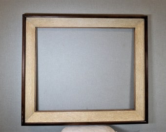 20x24 Frame Vintage White Distressed and Brown Retro 50's Wood with Optional Custom Cut Matting
