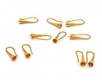 10 hooks trumpets golden earrings