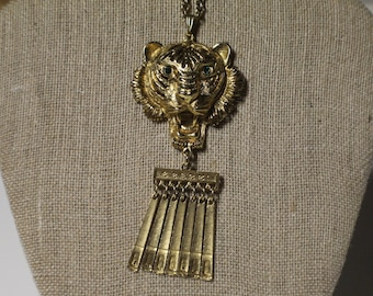 Vintage Roaring Tiger Necklace, Gold Tiger Pendant Necklace