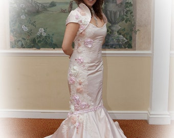 SALE...Wedding dress.  Pale pink silk duchess satin fishtail bridal gown/wedding dress. Pink wedding dress. Fishtail dress silk dress
