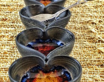 Tiny Pots: Gunmetal Ceramic Bowl with Reddish Blue Glass, Mini, Ring Holders, Salt Cellar, Valentine's Day, Wedding Favors