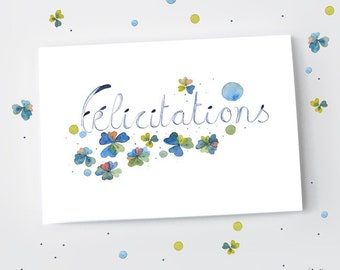 Congratulations flower card, Flower felicitations, Pastel botanical watercolor, Floral card,  Flower stationery, Wedding congratulations