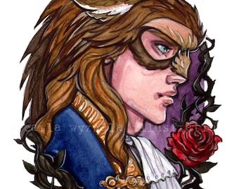 Beauty and the Beast Prince Adam fairytale masquerade watercolor art print Carla Wyzgala carlations