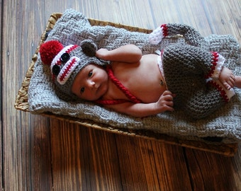 Newborn Gray Sock monkey hat and pant set with tail (other colors available) RTS