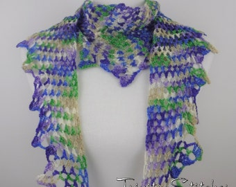 Crocheted Lace Scarf Hand Dyed Merino Ready to Ship Free Shipping