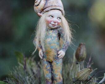 Miniature pixie girl with snail hat 1:12 dollhouse size by Tatjana Raum