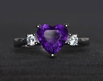wedding ring natural amethyst ring February birthstone purple gemstone ring heart cut gemstone