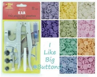 100 Kam Plastic Snaps & Pliers STARTER PACK for Diapers/Bibs/Nappies/KAM Snap (Pick 1 Pack or 10 Colors of Your Choosing)