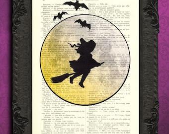 Halloween witch silhouette art full moon bats halloween print
