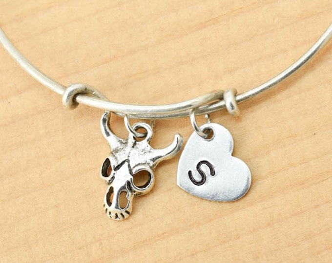 Cow Bangle, Sterling Silver Bangle, Cow Bracelet, Bridesmaid Gift, Personalized Bracelet, Charm Bangle, Initial Bracelet, Monogram