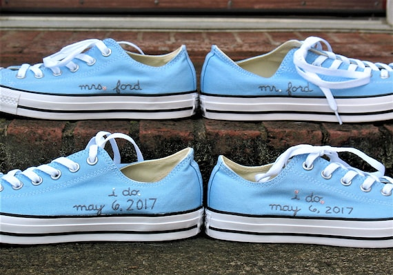 Custom Wedding Converse Mr and Mrs I do Custom Converse