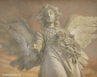 Angel of Grace Statue Fine Art Photograph, Wall Art, Gift, Angel Statue Photograph, Angel Wings Print, Guardian Angel Photo, Spiritual Photo