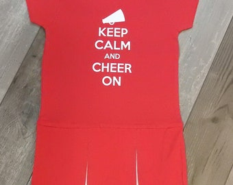 Keep Calm & Cheer On Choose Team Colors - Personalized For Free Little Girls'/Toddler Pleated Cheerleader Style Dress Outfit