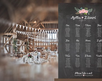 Chalkboard Wedding Table Plan with optional matching stationery