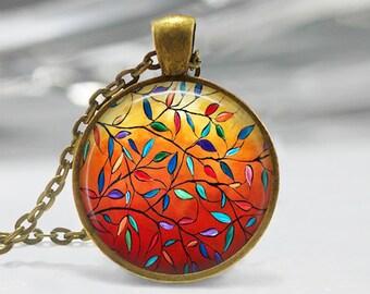 Autumn Leaves Pendant, Fall Leaves Art Pendant, Autumn Leaves Necklace, Autumn Leaves Art, Bronze, Silver, Fall Jewelry, Fall Leaves Art 154