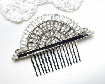 OOAK Vintage Art Deco Black HaiR CoMb, Silver Pave Rhinestone Black Enamel Fan, Bridal 1920 1930 Wedding Head Piece Black Hairpiece STUNNING