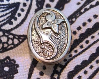 Sterling Silver Floral Design Stickpin Tie Pin