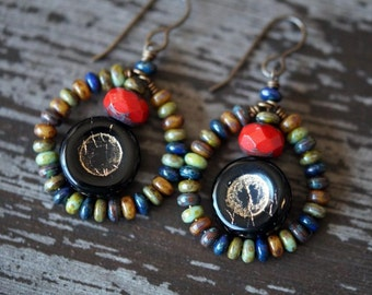 Boho Hoop Earrings - Gypsy Hoops - Hoop Earrings - Black Coins - Rustic Jewelry - Bead Soup Jewelry