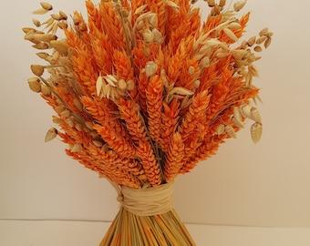 Orange bouquet wheat dried flowers
