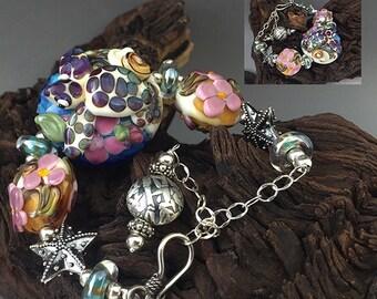 Hawaiian Honu sea turtle sterling silver and lamp work bead bracelet SRA