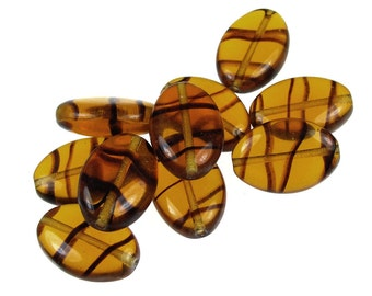 10 Oval Glass Beads - Tortoise Color - Warm Amber Topaz - 11mm x 16mm Jablonex Flat Smooth Pressed Glass Czech Beads