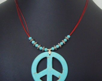 Simple Magnesite Peace Sign Necklace