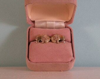 14K Gold Bison Earrings