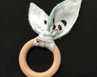 "Theme ""panda"" Bunny ear teething ring"