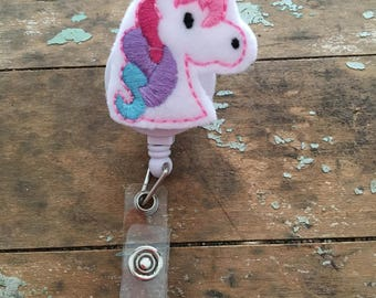Unicorn ID badge reel holder retractable clip