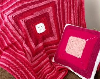 Pretty in Pink Granny Square Blanket and Pillow