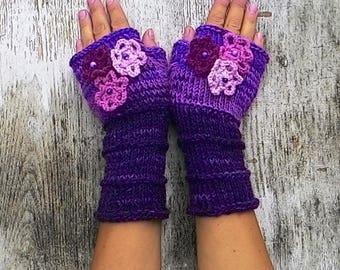 Women purple mittens Knit fingerless mittens crochet flowers Rose wrist warmers Texting gloves Bright colors gloves Girlfriend gift