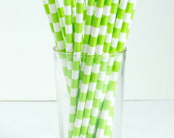 25 Lime Green Wide Stripe Paper Straws