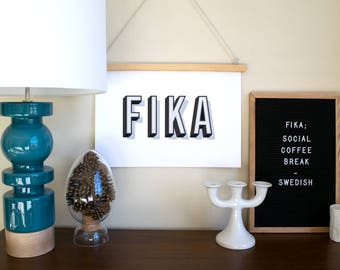 FIKA Typography print - a Scandinavian modern design print // 5 color options // 8.5x11 or 13x19 // Swedish poster // kitchen art