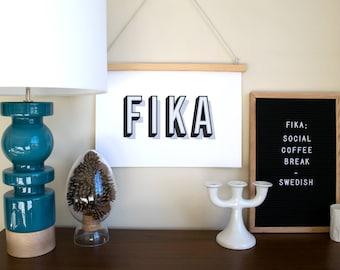 FIKA Typography print - a Scandinavian modern design print // 5 color options // 8.5x11 or 13x19 // Swedish poster // kitchen art