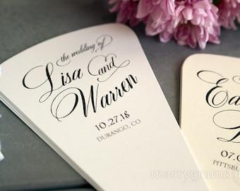 Wedding Program Fans 4 Blade Petal Programs w Satin Ribbon - Customizable Elegant Programs - Summer Wedding Custom Colors SS04 (Set of 50)