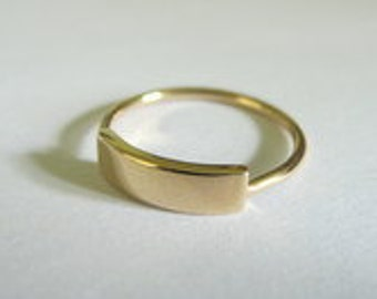 solid 14k gold rectangle ring