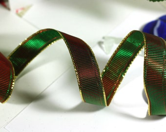 Green and Red Christmas Ribbon: Textured Wire Edged Ribbon in Red and Green with gold edging - 1 yards - 1 inch wide - Holiday Decorations