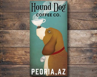 CUSTOM Hound Dog Basset Hound Coffee Company -  Graphic Art Stretched Canvas Wall Art by Ryan Fowler